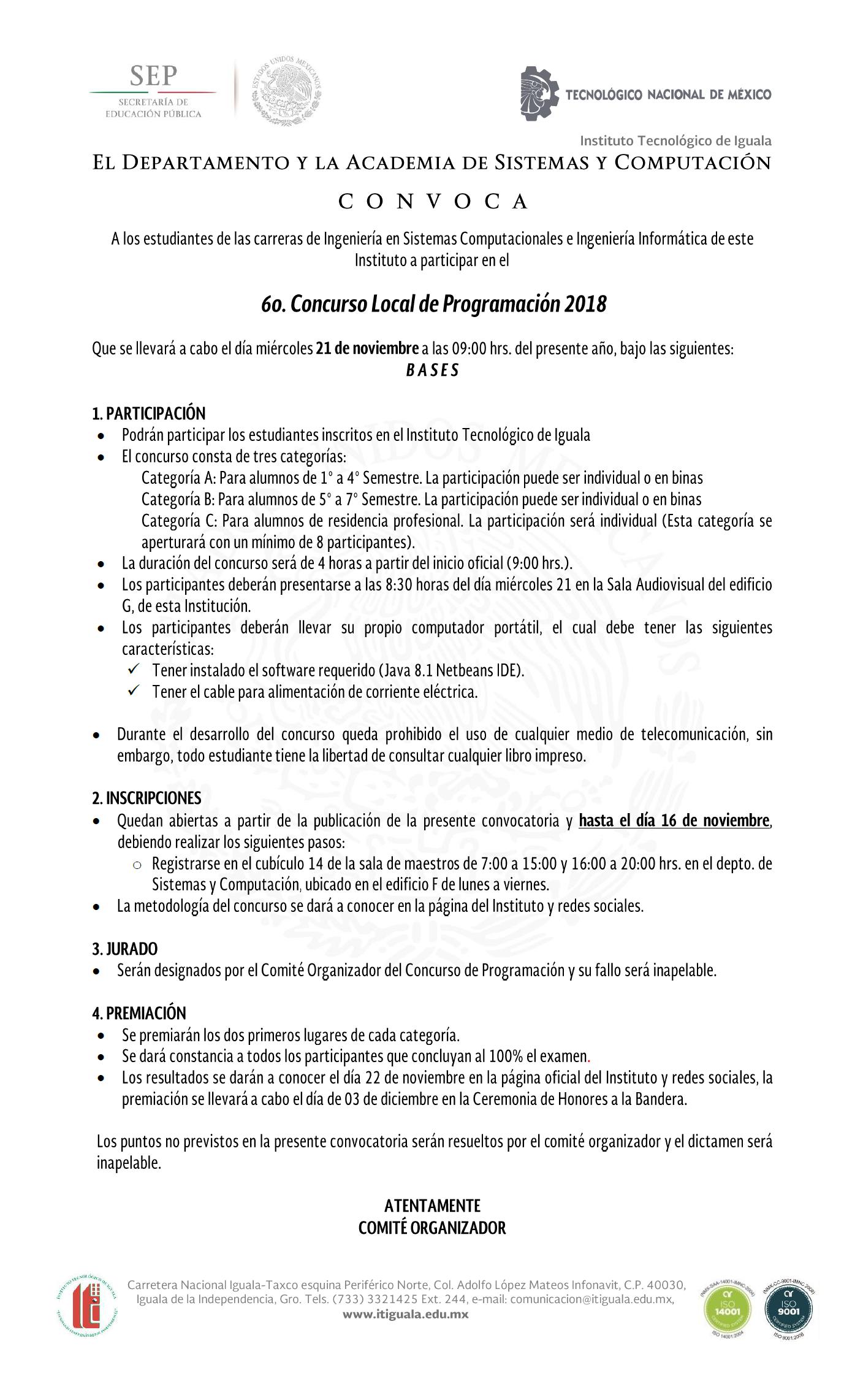 convocatoria concurso d programacion 2018
