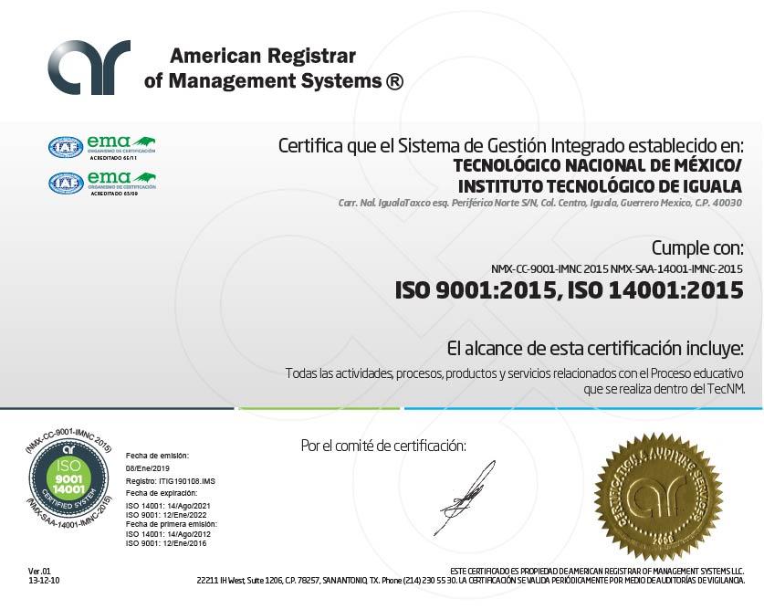 ARMS - Certificado 01.4 (SGI 9 14) v 2015 ITIG R0